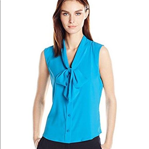 f7b1757d75f Calvin Klein Sleeveless Tie Neck Top (Plus Size)
